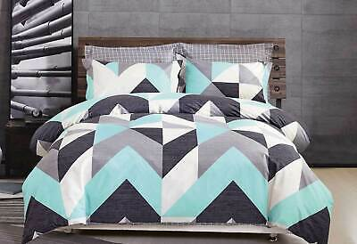 100% COTTON Aqua Marley quilt cover set / chevron zigzag pattern doona cover