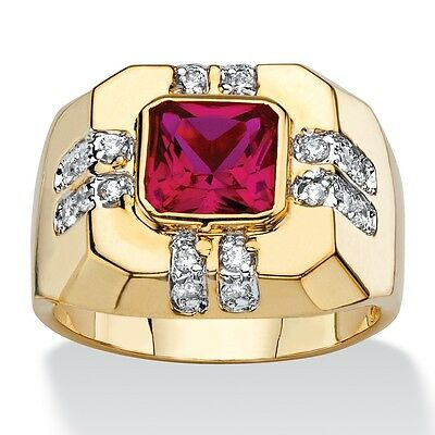 RED RUBY MENS 14K GOLD NUGGET EMERALD CUT GP  RING SIZE 8 9 10 11 12 13 14 15 16