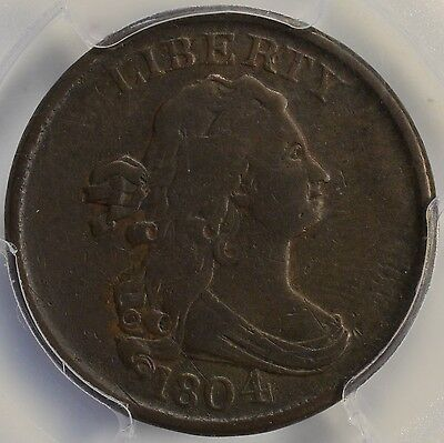 1805 1/2C Draped Bust Half Cent  Spiked Chin PCGS VF25
