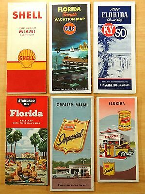 6 Gas Station Road Maps FLORIDA & MIAMI  1939-1960's KYSO SHELL GULF ATLANTIC