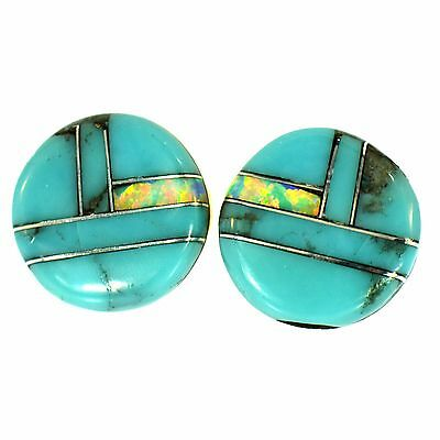 Turquoise & Vivid Opal Inlay Round Stud Earrings Sterling Silver Southwestern