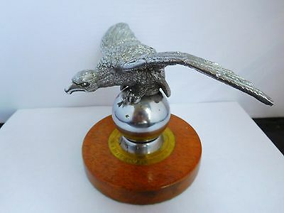 Vintage Desmo Car Mascot Mounted On Wooden Base With Inscription