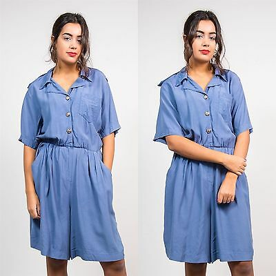 Womens Vintage Blue Button Playsuit Romper 90's Short Length Sleeve Casual 14