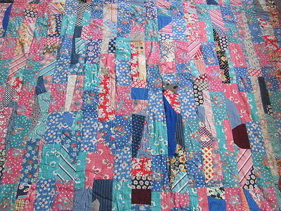 Beautiful bright cheerful tied Crazy Quilt cotton patchwork quilt 1940's