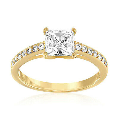 4b128227865d0 SWAROVSKI SQUARE CLEAR Crystal Engagement Ring ATTRACT Gold Plated  (Medium/55/7)