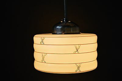BEAUTIFUL CZECH ART DECO 30's Beige Hand Painted Glass Pendant LIGHT Fixture