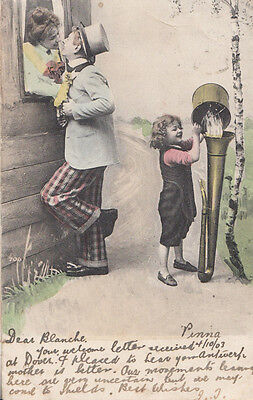 Giant Antique Trombone Musical Instrument Water German Old Comic Humour Postcard