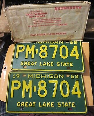 vintage pair of 1968 MICHIGAN  license plates #PM-8704