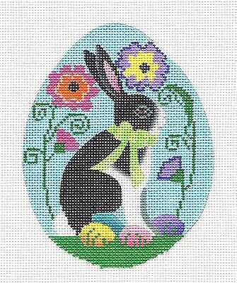 """*NEW* """"Spring EGG with Rabbit"""" handpainted Needlepoint Canvas Ornament B. Stofft"""