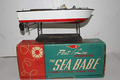 1950's Fleet Line Battery Operated Speed Boat, Sea Babe, Nice with Original Box
