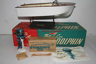 1950's Fleet Line Dolphin Speed Boat, K&O Evinrude 25 HP Motor, Original Boxes