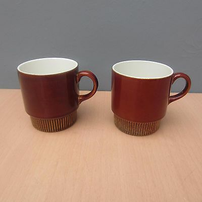 2 Retro Vintage Poole Pottery Chestnut Cups