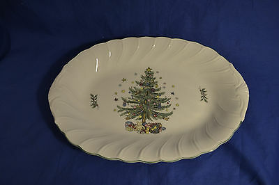 """14"""" Oval Serving Platter in Happy Holidays by Nikko"""