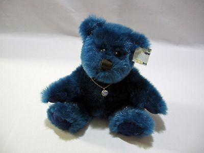 Applause Teddy Bear Blue Plush Necklace December Christy Stuffed Animal 7""