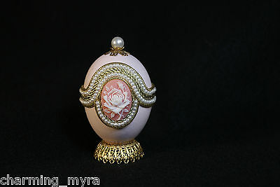 "Eggspressions Dynasty Pink Egg ""White Rose Cameo"" Design Jewelry Box"