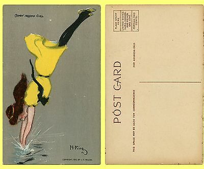 EXC 1907 Boldly Colored Postcard, NY Coney Island Diving Girl Splashing Down