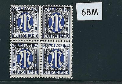 Mint stamp block #68M / PF25 / 1945 - 1946 / Allied Military Government / A.M.G.