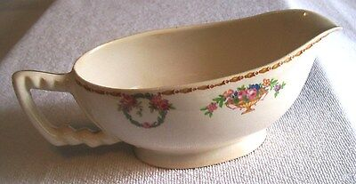 Antique Old English Ceramic  Gravy Boat With Beautiful Floral Pattern