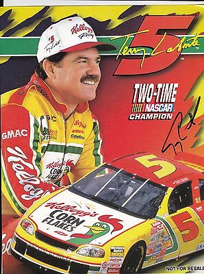 NASCAR Terry LaBonte Kellogg's Autographed 8 1/2 x 11 2 Time Champ Photo Card B
