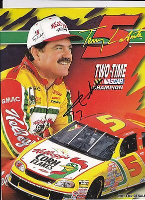 NASCAR Terry LaBonte Kellogg's Autographed 8 1/2 x 11 2 Time Champ Photo Card C