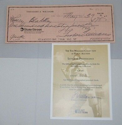 Ted Williams Signed Autographed Check Coa #523