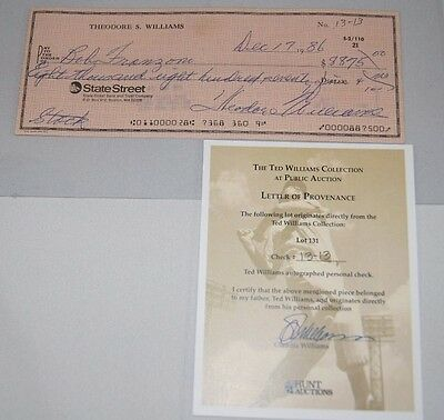 Ted Williams Signed Autographed Check Coa #13-13