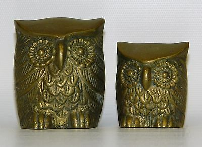 Lot Pair 2 Brass Owl Statues Small Figures Vintage Bird Figurines Paperweights