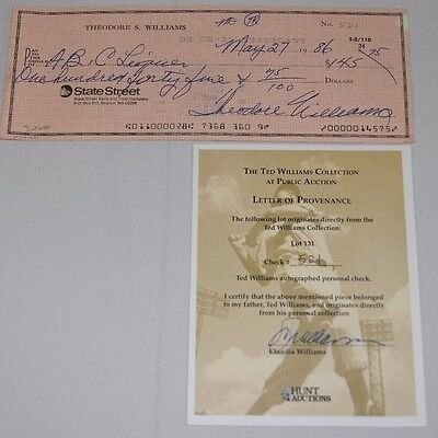 Ted Williams Signed Autographed Check Coa #521