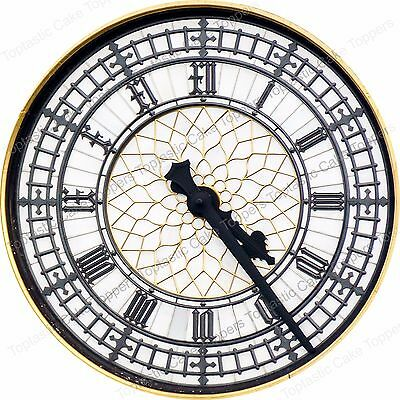 Antique Vintage Clock Face Big Ben Background Pattern Edible Icing Cake Topper