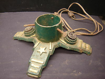 Old Christmas Tree Cast Metal Stand with outlets