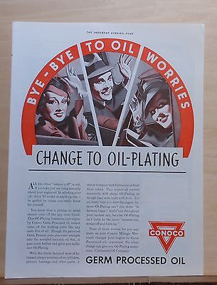 1937 magazine ad for Conoco Germ Processed Oil - Bye Bye to Oil Worries