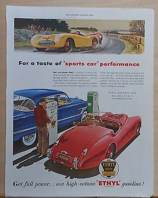 1954 magazine ad for Ethyl Gasoline - For Sports Car performance, colorful ad