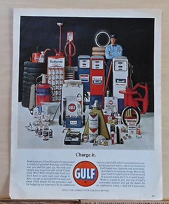 1963 magazine ad for Gulf products - Colorful photo of Gulf items & attendant