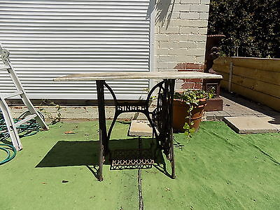 """Antique """"singer""""treadle Sewing Machine Base With Marble Top Garden Table"""