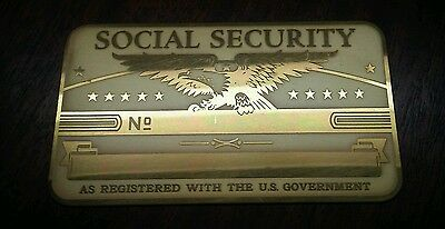 Antique Brass Social Security Card Blank Great Condition!!