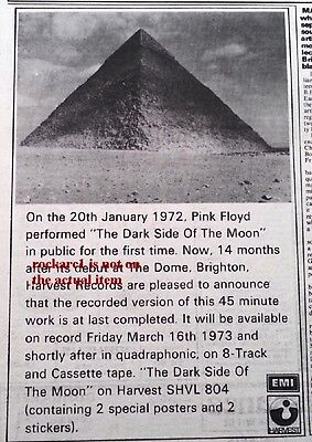 PINK FLOYD Dark Side Of The Moon 1973 UK Press ADVERT 8x6 inches