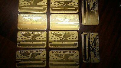 lot of 25 Antique Brass Social Security Card Blank Great Condition!!