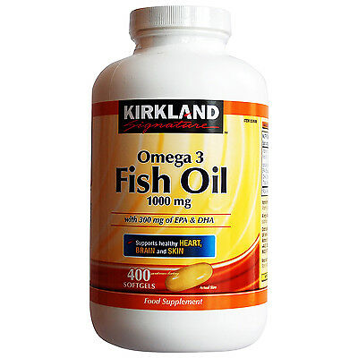 Kirkland Signature Omega 3 Fish Oil 1000mg, 400 Softgels (6 Months Supply)