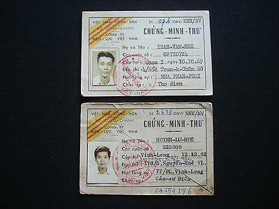 Vietnam War 2 South Vietnamese ELECTRICITY COMPANY ID Cards Issued Year 1970
