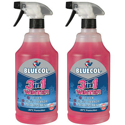 2 x Bluecol 3in1 Ready Mixed Winter Screenwash De-icer Glass Cleaner Melts Ice