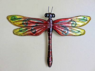 Metal Dragonfly Red Green 12.25 In. Fence/patio Art Outdoor Decor Yard Art