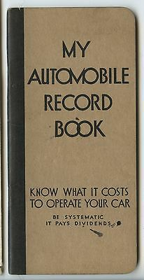 Old 1939 My Automobile Record Book