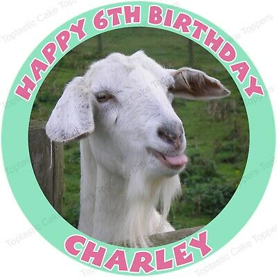Personalised Goat Edible Icing Birthday Party Cake Topper