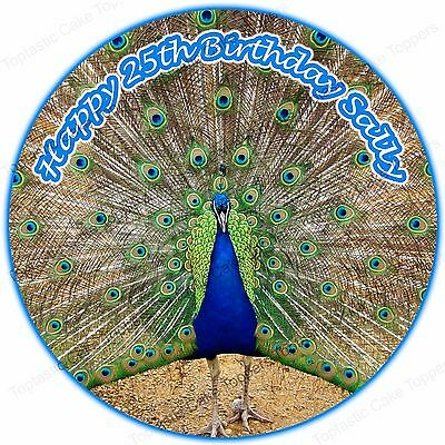 Personalised Peacock Bird Edible Icing Birthday Party Cake Topper