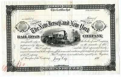 1880 New Jersey & New York Railroad RR Stock Blank Proof First One Ever Printed!