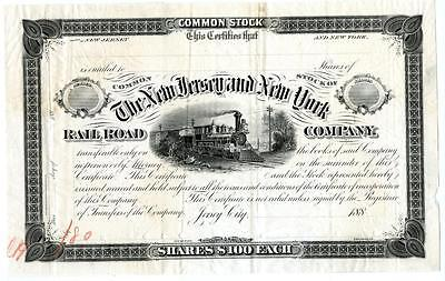 1880 New Jersey & New York Railroad Stock Blank Proof - First One Ever Printed!