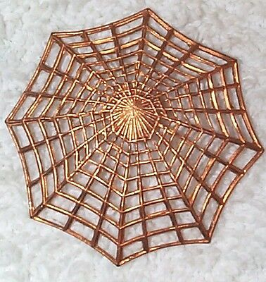 Vintage Incredible Open Cut Work Spider Web Brass Stampings Findings 5 Pc