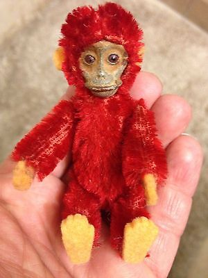 "RARE 1920's Schuco 3.5"" MINIATURE Jointed RED Mohair Perfume Bottle Monkey LOOK"