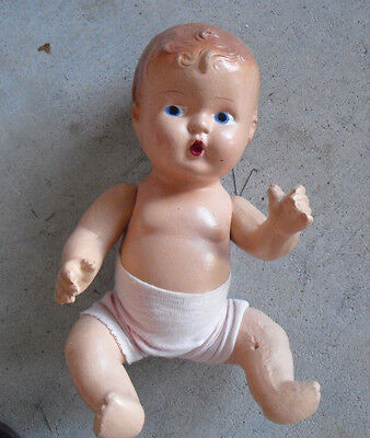 """Vintage 1930s Jointed Composition Baby Girl Sitting Character Doll 9"""" Tall"""