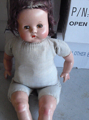 """Vintage 1940s Composition Cloth Baby Girl Character Doll 20"""" Tall"""